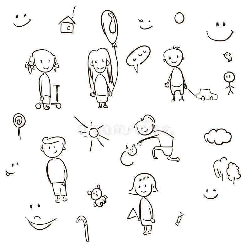 Simple sketch cartoon children and toys. Vector illustration royalty free illustration