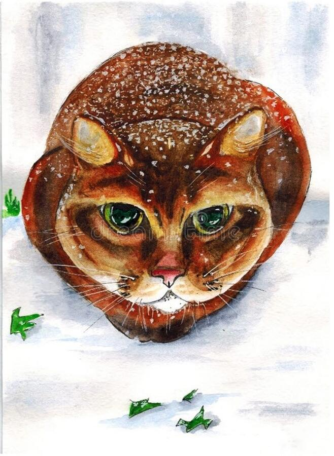 Sketch. Cat in the snow. The picture `Cat in the snow`. is made manuale: drawn in pencil and watercolour stock images