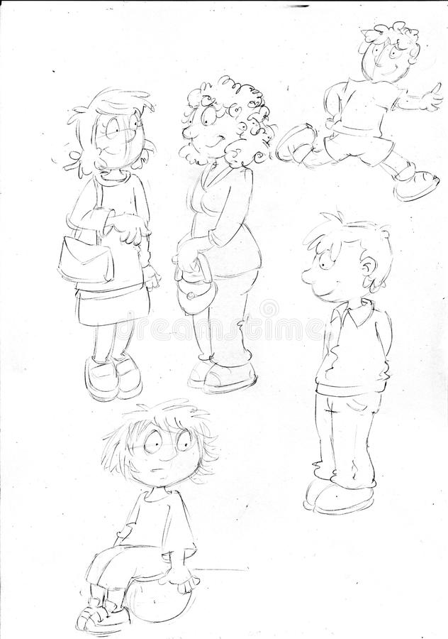 Sketches and pencil sketches and doodles humorist illus the mothers and the children play,sketches and pencil sketches and doodles. Sketches and pencil sketches vector illustration