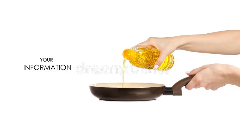 Sunflower oil pour into a frying pan pattern. On white background isolation royalty free stock images
