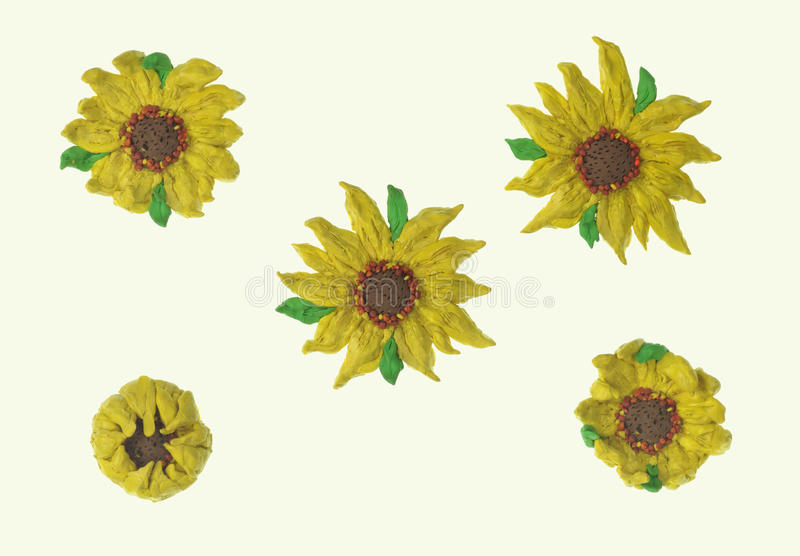 Sunflower plasticine. Set over white with clipping path royalty free stock image