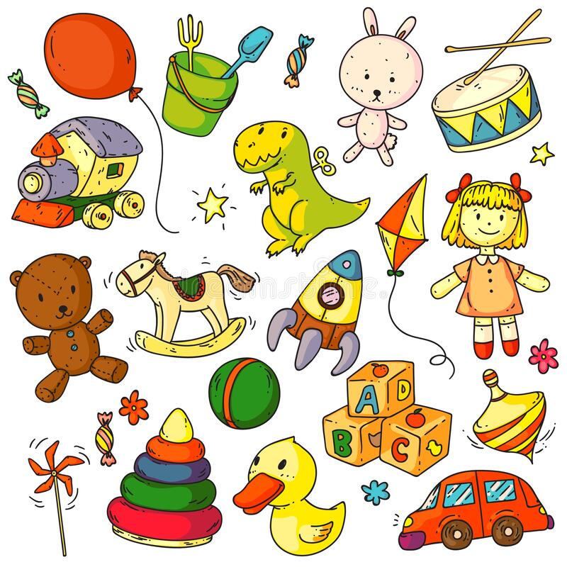 Toys doodles. Funny children toys object sketches. Signs set. Cute bunny, bear animal, balloon, duck, car, rocket, horse, ball, doll, abc cubes game doodles vector illustration