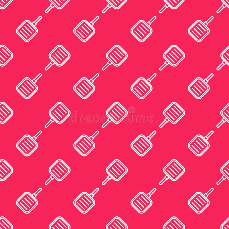 White line Frying pan icon isolated seamless pattern on red background. Fry or roast food symbol. Vector. Illustration royalty free illustration