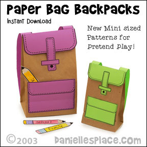 Paper Bag Lunchbag Craft for Children from www.daniellesplace.com - Use these adorable backpacks for learning activites, preparing for school, and libary programs. Click on the image to follow the link.