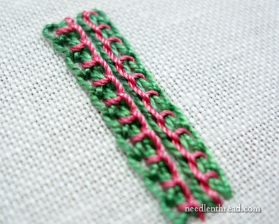 Chain Stitch Combined with Buttonhole Stitch