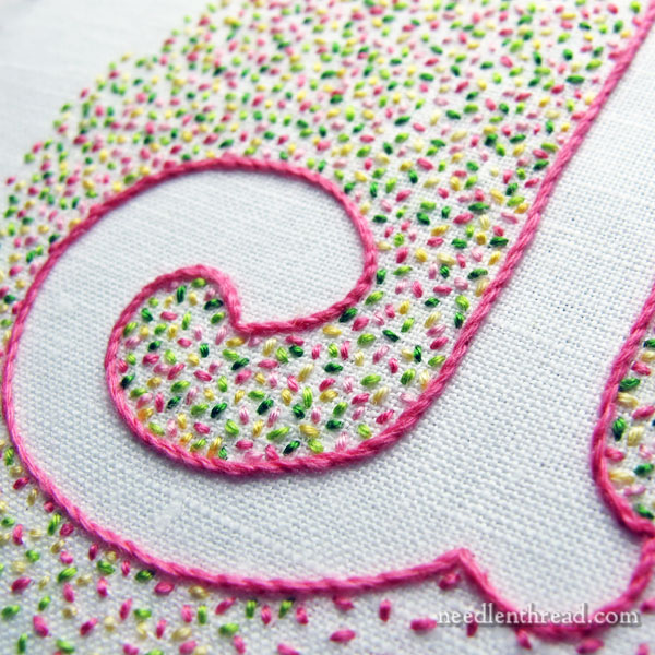 Confetti Monogram with seed stitch